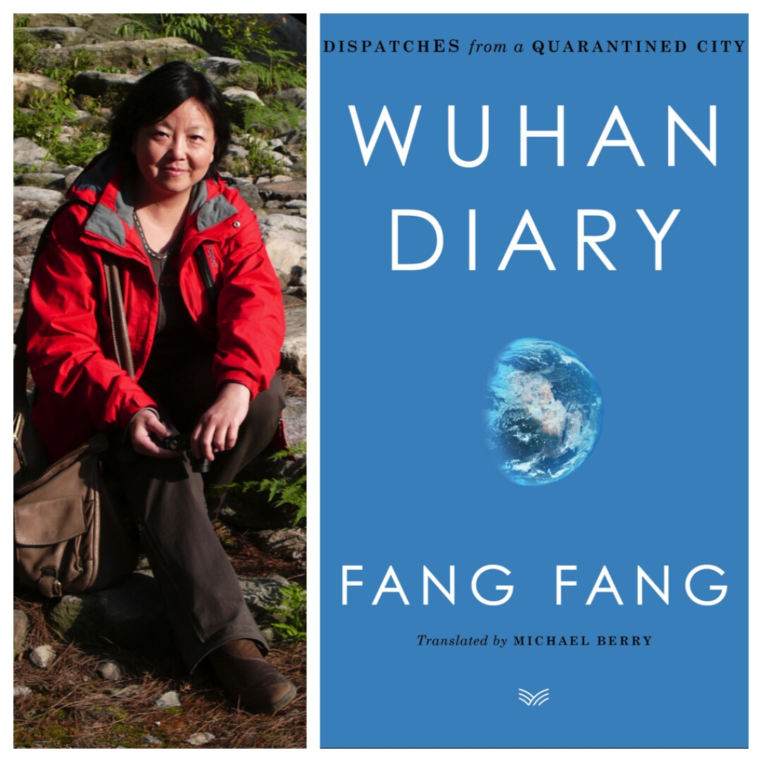 "An image of author Fang Fang next to an image of the cover of her book ""Wuhan Diary: Dispatches from a Quarantined City"""