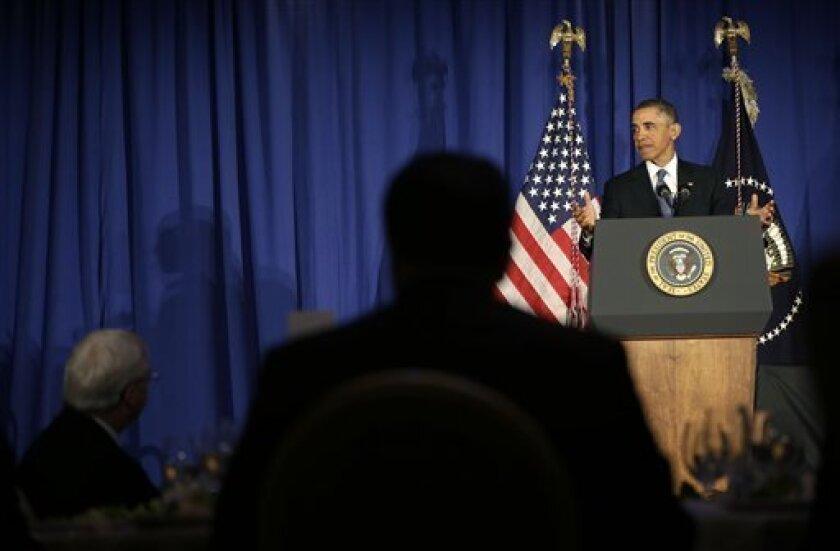 President Barack Obama speaks at the Business Council dinner in Washington, Wednesday, Feb. 27, 2013. (AP Photo/Pablo Martinez Monsivais)