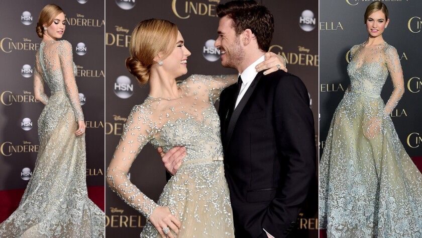 """Stars Lily James and Richard Madden at the """"Cinderella"""" premiere Sunday in Hollywood."""