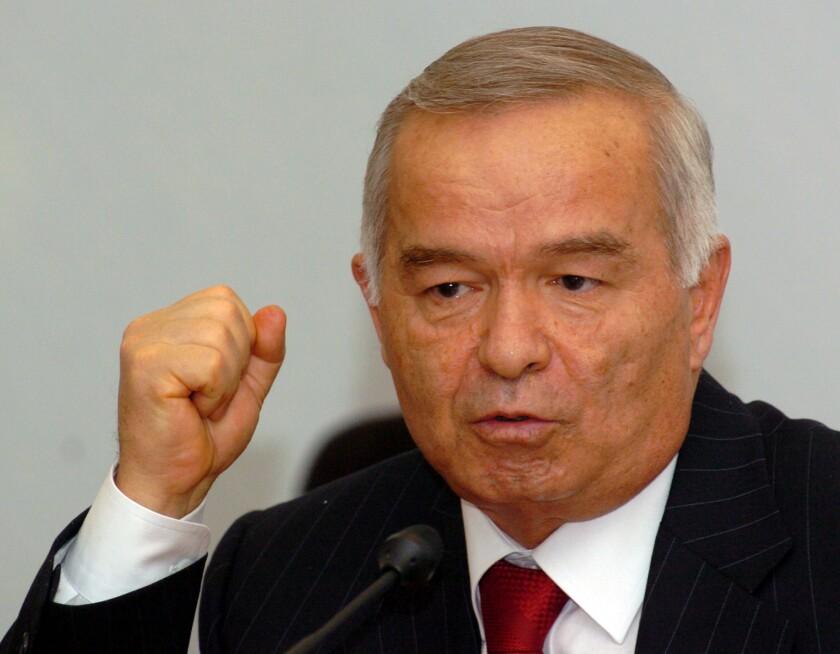 Uzbek President Islam Karimov holds a news conference in Tashkent, the capital, in May 2005.