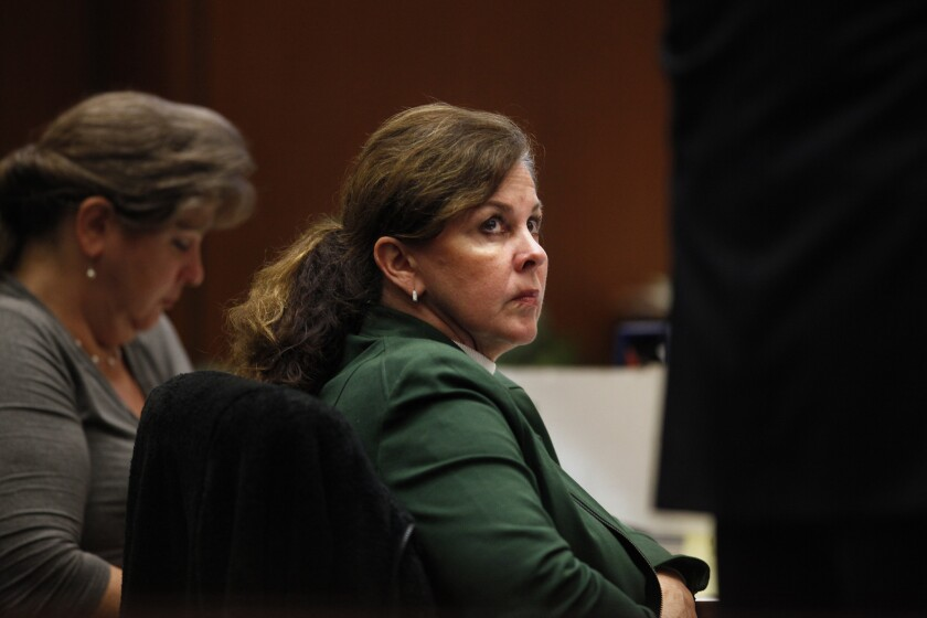 Former assistant city administrator of Bell, Angela Spaccia, in court.