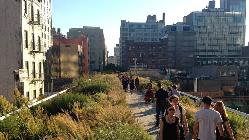 New research suggests that encounters with nature even in urban environments can improve the mental well-being of city dwellers. Here, New Yorkers enjoy the High Line.