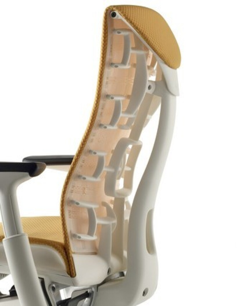 Herman Miller, manufacturer of the famed Aeron chair, is launching another design: Embody. The chair is tapered at the shoulders to allow greater ease of movement; ergonomic support is provided by an exposed skeletal system, including dozens of flexors that adjust with the user's movements. Embody is available in various colors including mango, shown here. Prices start at $1,295 at Jules Seltzer Associates in Los Angeles.