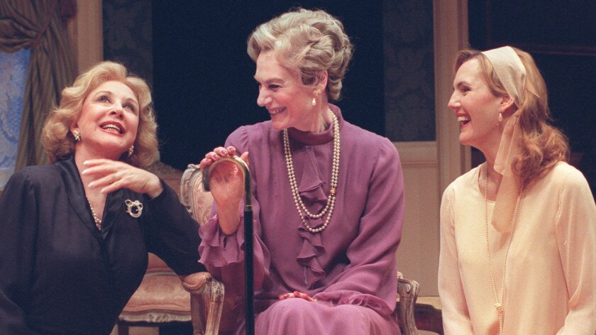 "Michael Learned, left, Marian Seldes and Christina Rouner in a production of ""Three Tall Women"" that came to the Mark Taper Forum in Los Angeles in 2004."
