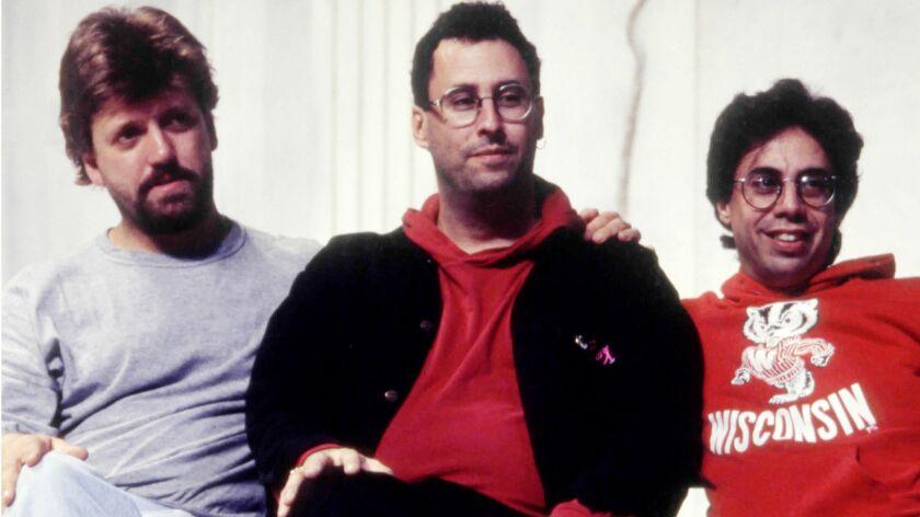 """L to R: Oskar Eustis, Tony Kushner and Tony Taccone relax during rehearsal for Kushner's """"Angeles in"""