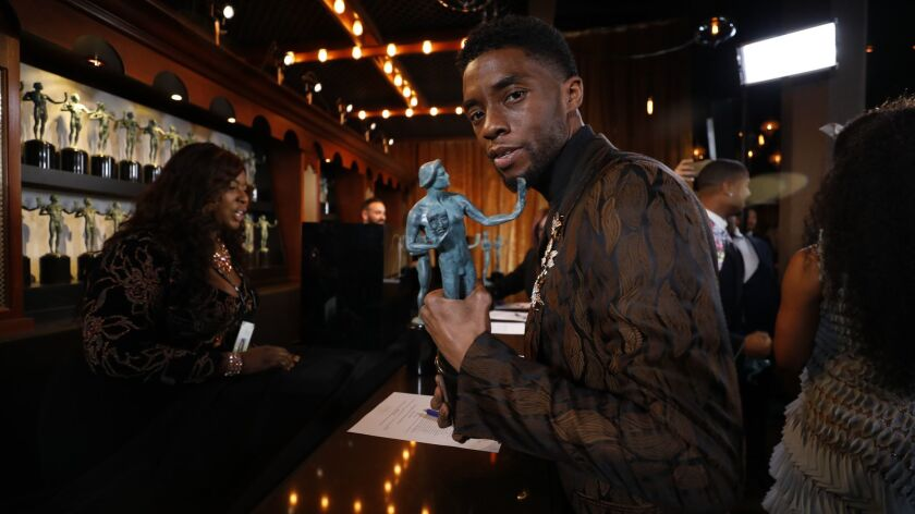 Chadwick Boseman backstage at the 25th Screen Actors Guild Awards at the Los Angeles Shrine Auditorium on Sunday, Jan. 27, 2019.