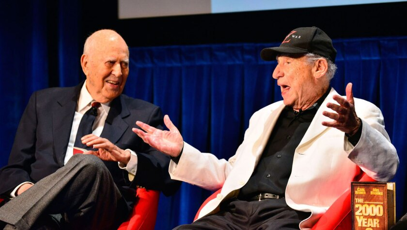 Carl Reiner and Mel Brooks in 2013, opening #Comedyfest.