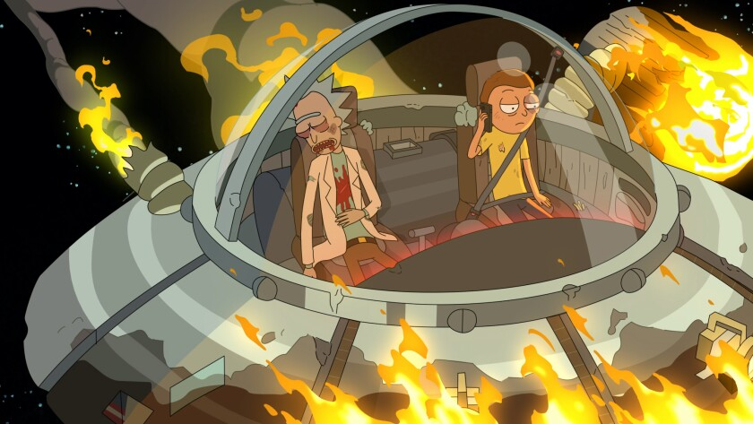 Rick sits passed out while Morty makes a call on his smartphone as the Space Cruiser is engulfed in flames.