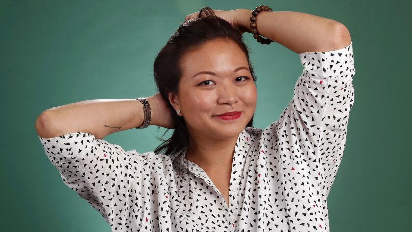 """BEVERLY HILLS, CA-AUGUST 5, 2018: Adele Lim, screenwriter for the film, """"Crazy Rich Asians,"""" is pho"""