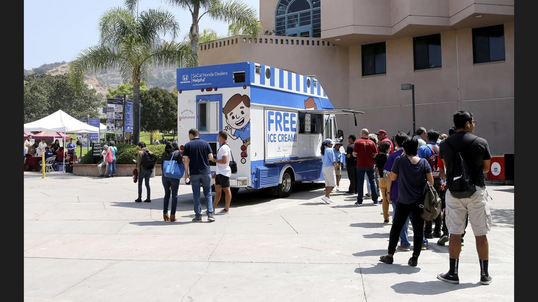 Photo Gallery: Helpful Honda ice cream truck gave away free ice cream at Glendale Community College