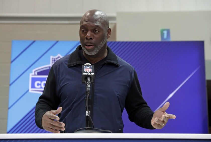 Chargers coach Anthony Lynn speaks during a news conference at the NFL scouting combine on March 1, 2020.
