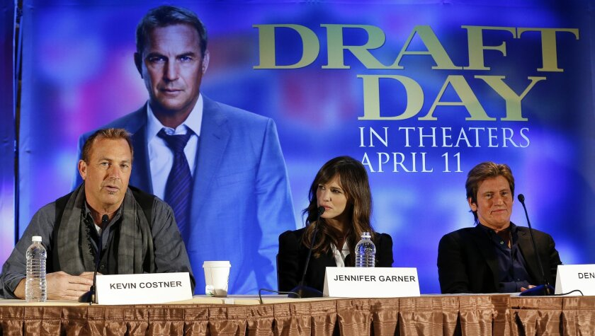 "Actors,from left, Kevin Costner, Jennifer Garner and Denis Leary appear at a news conference for the movie ""Draft Day"" in New York on Friday, Jan. 31, 2014. The Seattle Seahawks play the Denver Broncos on Sunday at the stadium in the NFL Super Bowl XLVIII football game. (AP Photo/Paul Sancya)"