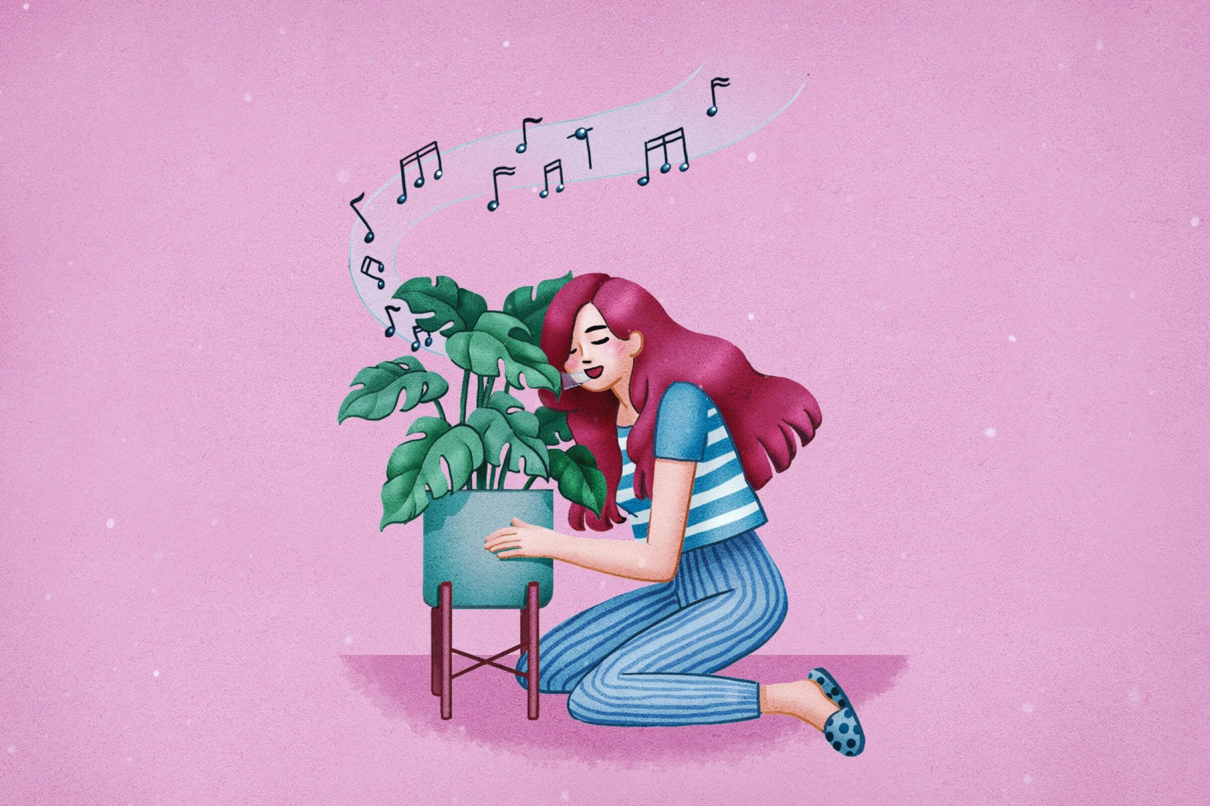 Singing to plants illustration