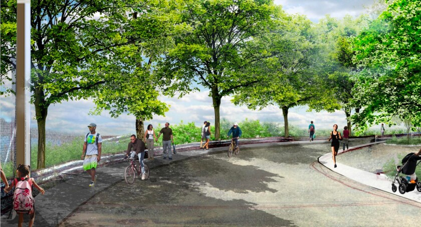 A rendering shows what New York City's largest state park, Shirley Chisholm State Park, will look like when it opens in Brooklyn in 2019.