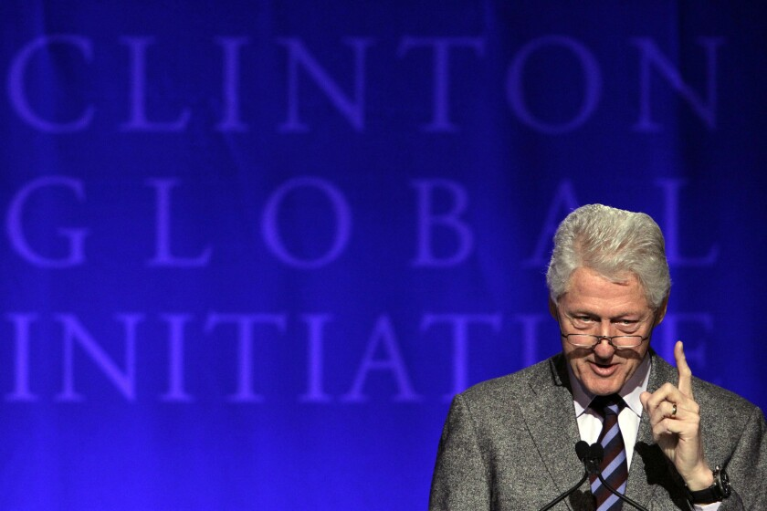 President Clinton speaks during the Clinton Global Initiative at Washington University this month in St. Louis.