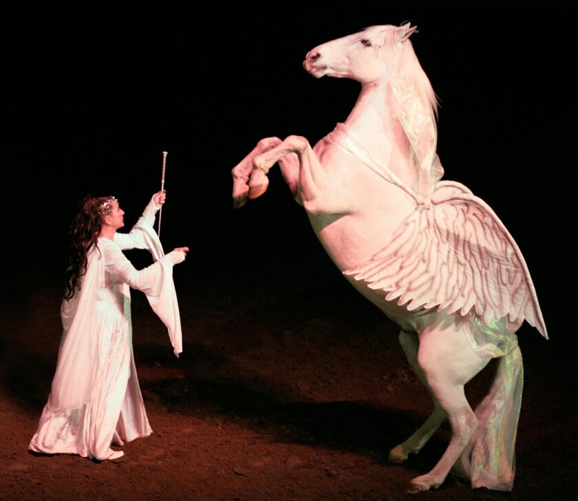 "Cynthia Royal does a trick with her horse Blanco, who played Shadowfax in two of the ""Lord of the Rings"" movies. Royal toured the country with Blanco in a tricks show that included him performing as the winged horse Pegasus."