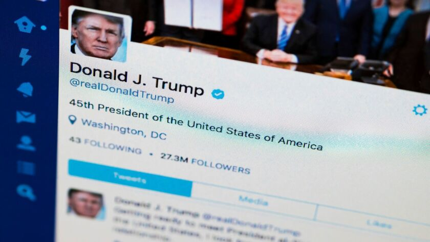 President Donald Trump's tweeter feed is photographed on a computer screen in Washington, Monday. Ap