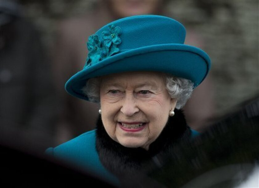 FILE -  A Tuesday, Dec. 25, 2012 photo from files showing Britain's Queen Elizabeth II as she walks to get in her car after attending the British royal family's traditional Christmas Day church service in Sandringham, England.  Queen Elizabeth has been taken to the King Edward VII hospital in centr