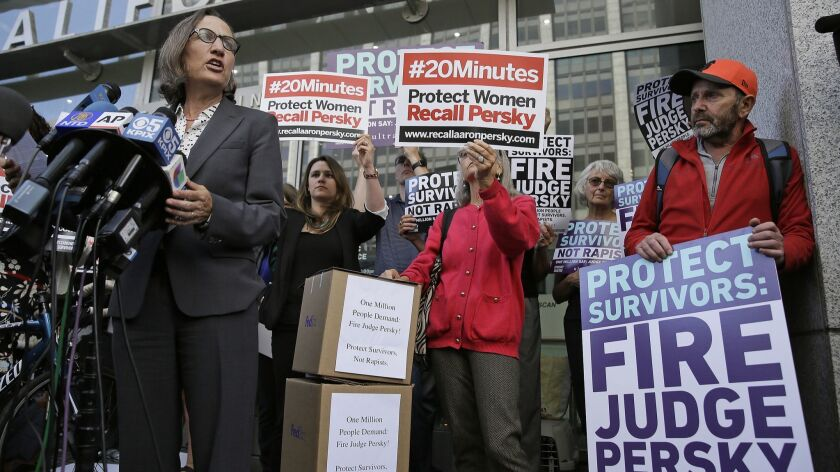 Stanford law professor Michele Dauber, shown at a 2016 rally, led the successful effort to recall Santa Clara County Superior Court Judge Aaron Persky over the sentence he imposed on Stanford swimmer Brock Turner in a sexual assault case.