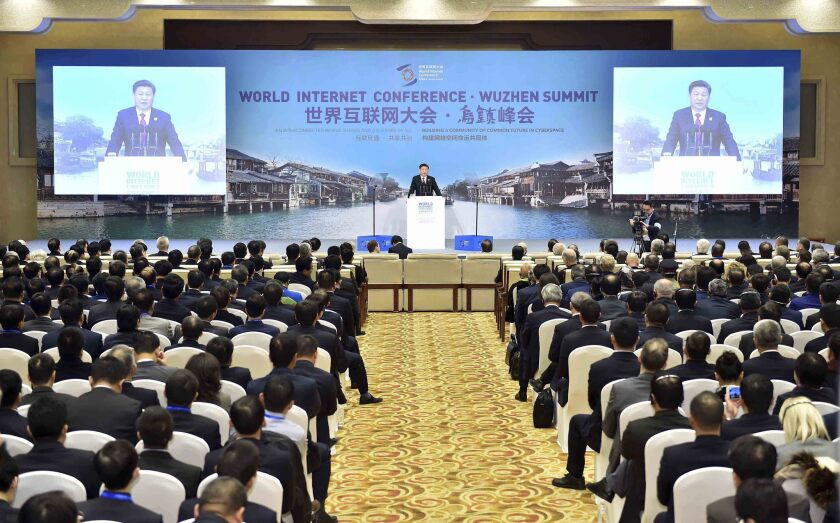 In this photo released by New China News Agency, Chinese President Xi Jinping delivers a keynote speech at the opening ceremony of the second World Internet Conference on Dec. 16.