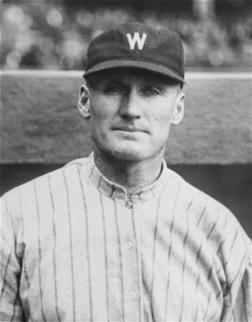 FILE - In this Sept. 26, 1924 black-and-white file photo, Washington Senators baseball pitcher Walter Johnson is seen. (AP Photo, File)