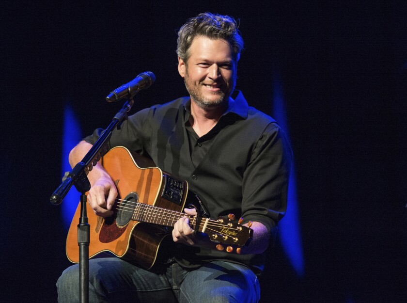 """Blake Shelton performing at the 12th Annual Stars for Second Harvest Benefit at Ryman Auditorium in Nashville, Tenn. Shelton was named as People magazine's 2017 """"Sexiest Man Alive."""""""