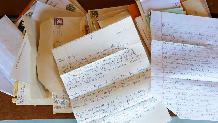 A stack of letters exchanged over the 42 years between pen pals Lori Gertz of Encintas, 53, and Geor