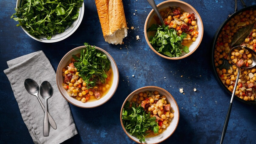 LOS ANGELES - THURSDAY, May 30, 2019: Baked Brothy Chickpeas with Chilled Lemon Watercress. Food Sty