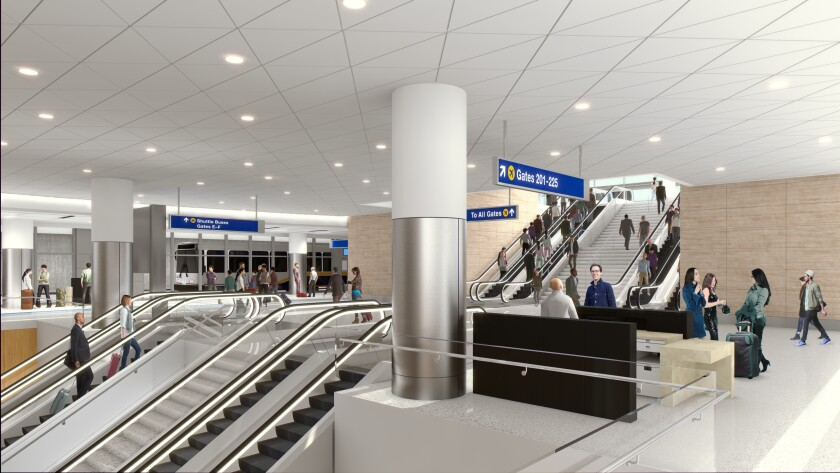 The new concourse at LAX, accessed by bus or on foot, adds 12 gates. (rendering)