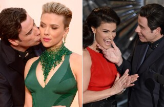 John Travolta gets awkward with Scarlet Johansson, Idina Menzel at Oscars 2015
