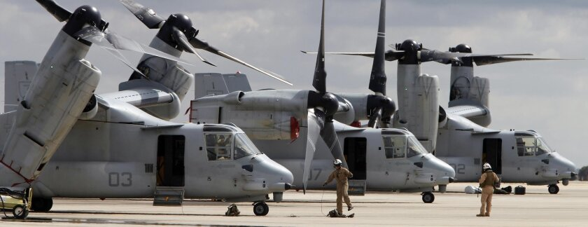 MV-22 Ospreys at last year's air show at Miramar Marine Corps Air Station, one of the San Diego-area bases that will get a boost from the new defense spending bill.
