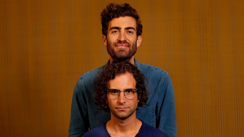 BEVERLY HILLS, CA-JULY 19, 2017: Director Dave McCary, top, and star/co-writer Kyle Mooney of the f