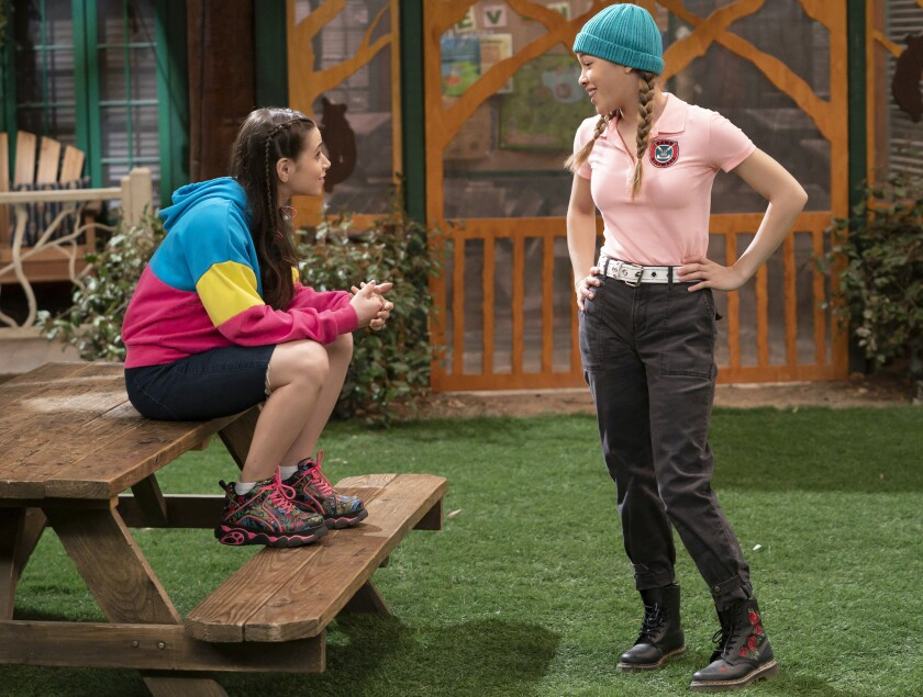 """Sky Katz, left, and Shelby Simmons in the crossover special """"Raven About Bunk'd"""" on Disney Channel."""