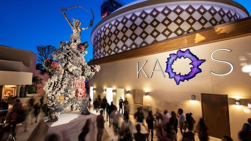"The KAOS nightclub at Palms Casino Resort in Las Vegas is closing. ""The Warrior and the Bear,"" a Damien Hirst sculpture, stood outside the club."