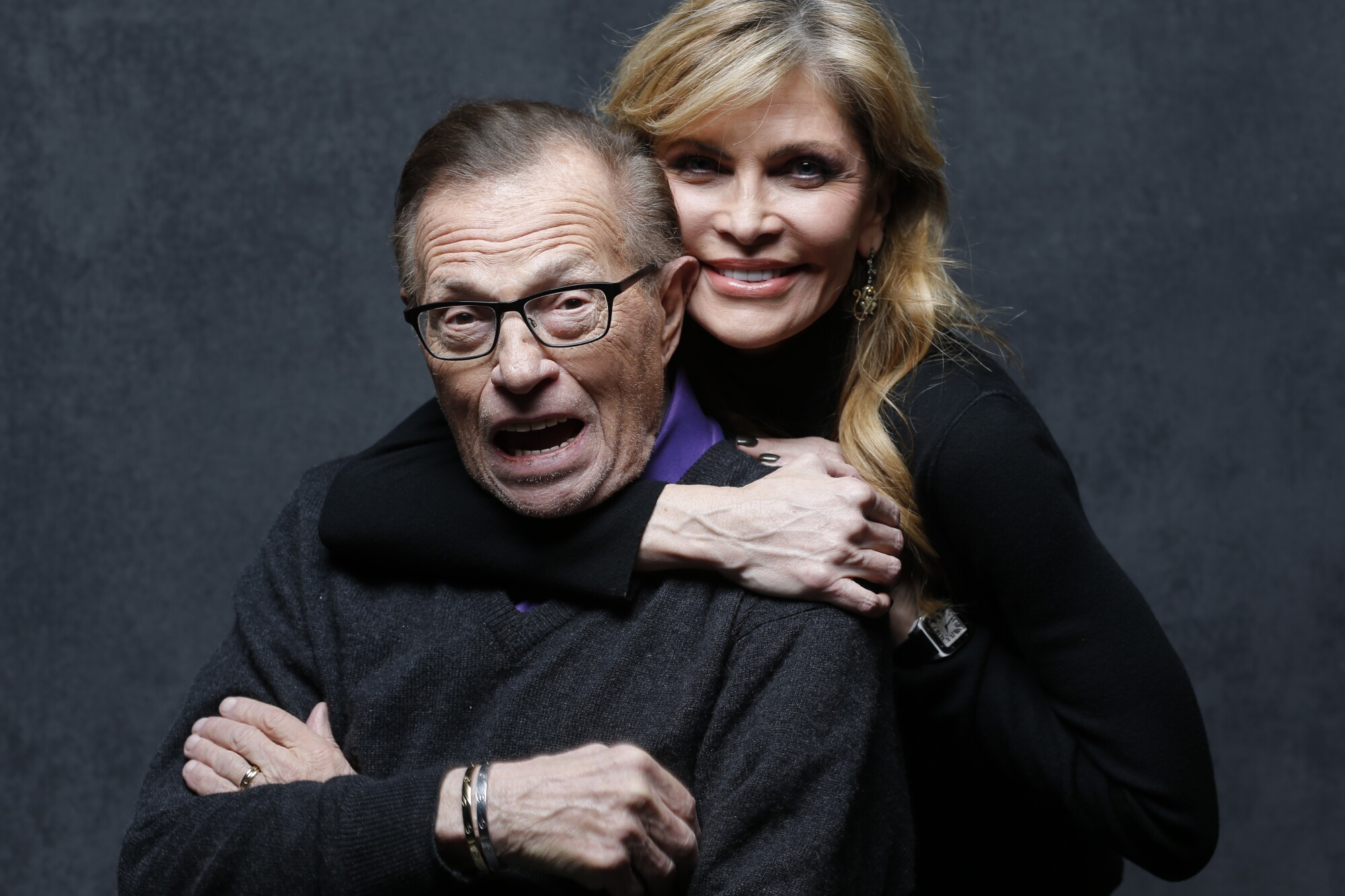 Larry King with wife Shawn King at the Sundance Film Festival in 2015