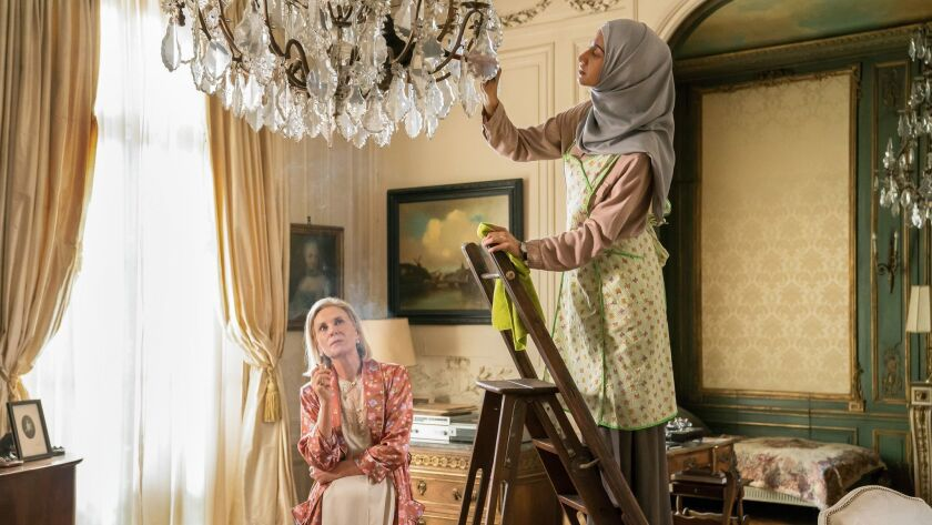 """(L-R) - Marthe Keller and Ines Melab in a scene from """"The Romanoffs."""" Credit: Christopher Raphael/Am"""