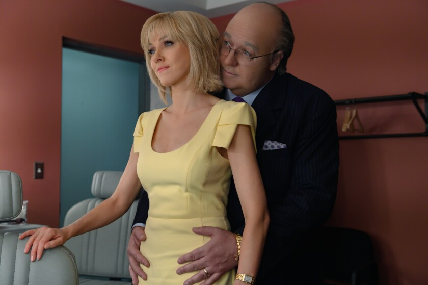 """Naomi Watts as Gretchen Carlson and Russell Crowe as Roger Ailes in """"The Loudest Voice."""""""