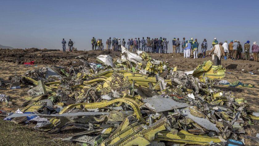Wreckage at the crash scene of the Ethiopian Airlines 737 Max crash near Bishoftu, Ethiopia.