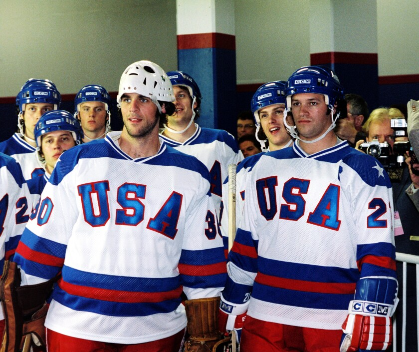 "Actors Eddie Cahill, left, and Patrick O & # 39; Brien Demsey played goalkeeper Jim Craig and team captain Mike Eruzione in the 2004 film, ""Miracle""."