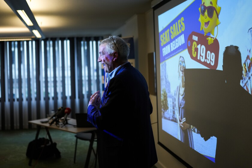 Ryanair Chief Executive Officer Michael O'Leary poses for photographers during a media conference in Brussels, Thursday, July 1, 2021. (AP Photo/Francisco Seco)