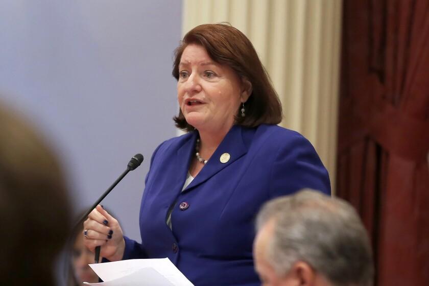California state Senate President Pro Tem Toni Atkins of San Diego speaks on the floor of the Senate in Sacramento.