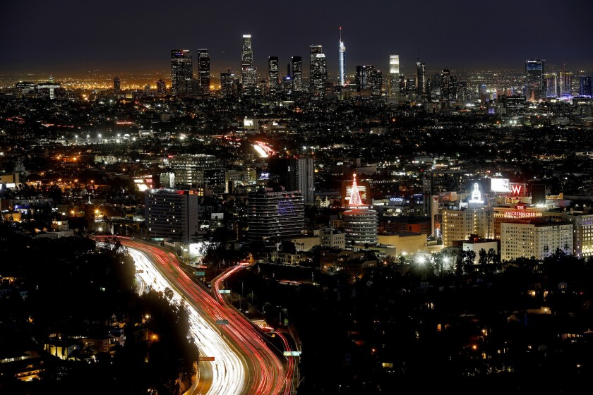 The Los Angeles skyline from Mulholland