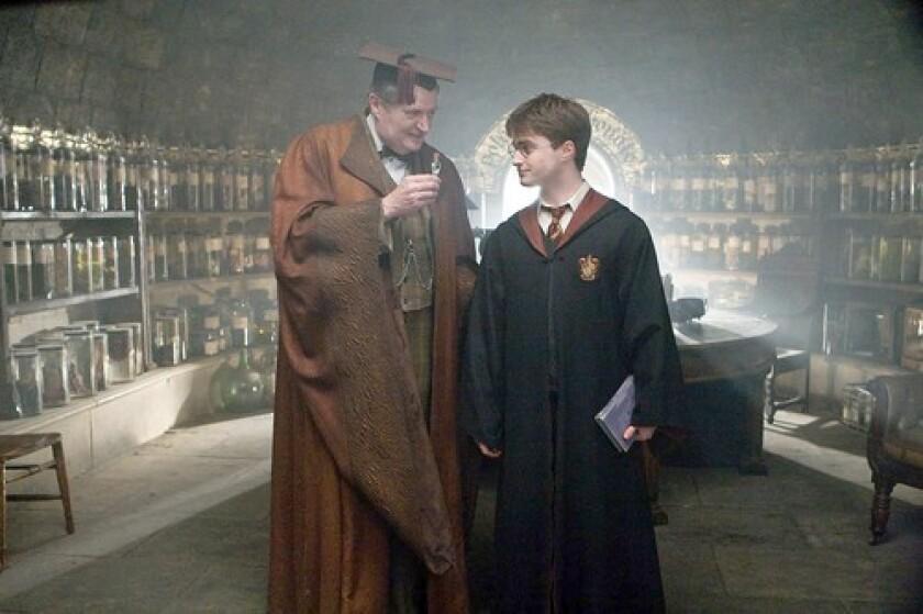 'HALF-BLOOD PRINCE': Broadbent, left, plays professor Horace Slughorn, a colorful faculty member at Hogwarts Academy. Daniel Radcliffe returns as Harry Potter.
