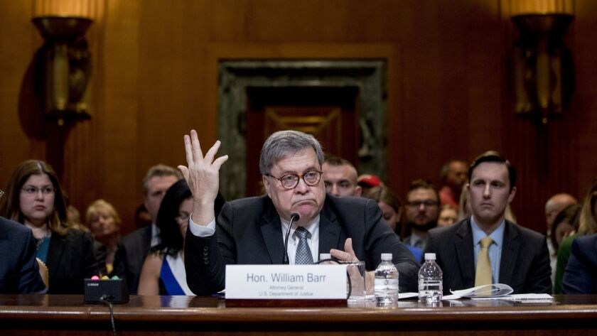 Attorney General William Barr appears before a Senate Appropriations subcommittee in Washington on April 10.