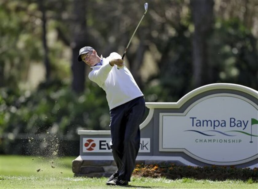 Jim Furyk hits his tee shot on the 17th hole during a practice round for the Tampa Bay Championship golf tournament Wednesday, March 13, 2013, in Palm Harbor, Fla. (AP Photo/Chris O'Meara)