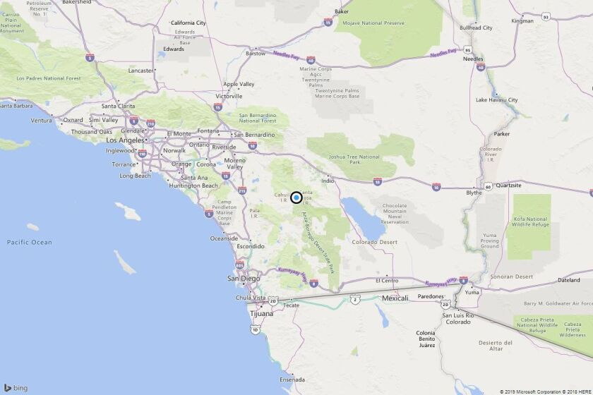 A map shows the approximate location of the epicenter of Monday morning's quake near Ribbonwood, Calif.