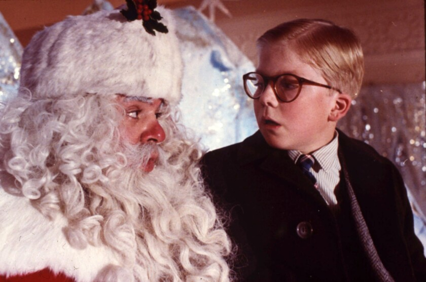 A Christmas Story ññ Movie airing on TNT, Ralphie Parker (Peter Billingsley, right) meets a depart