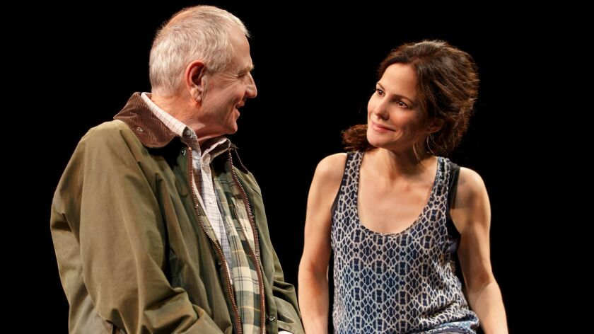 "Denis Arndt and Mary-Louise Parker in the Manhattan Theatre Club production of ""Heisenberg."" Wri"