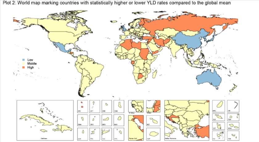 A new study reports that depression is the second-leading cause of global disability. This map shows nations with a statistically lower rate of depression disability in blue, middle-ranking rates in yellow and high rates in orange. Rankings are relative to global mean rate of years lived with disability.