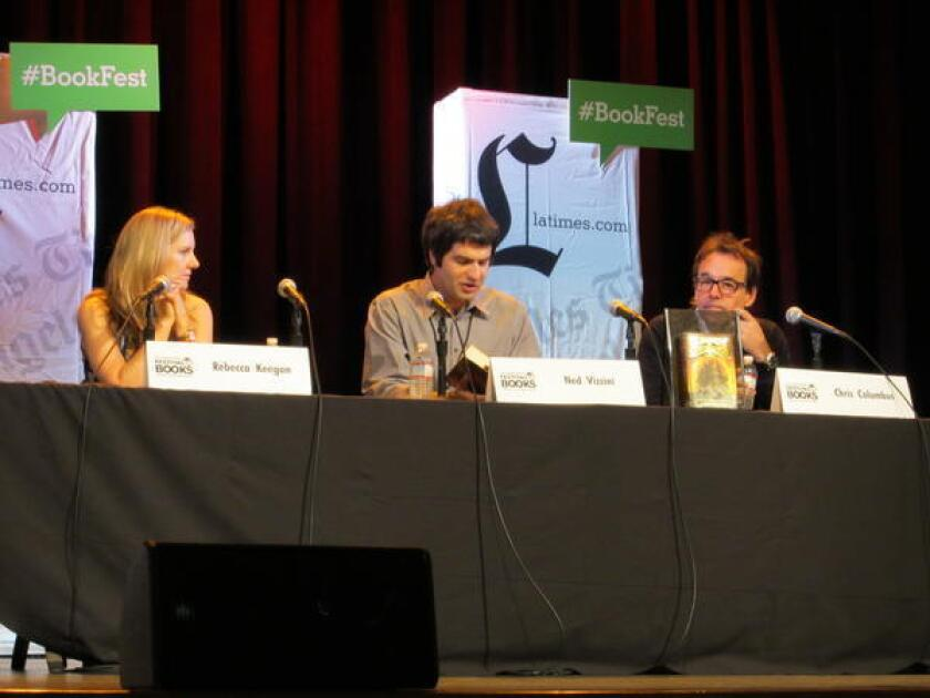 """Ned Vizzini reads from """"House of Secrets"""" during the 2013 Festival of Books with the Times' Rebecca Keegan and co-author, director Chris Columbus."""